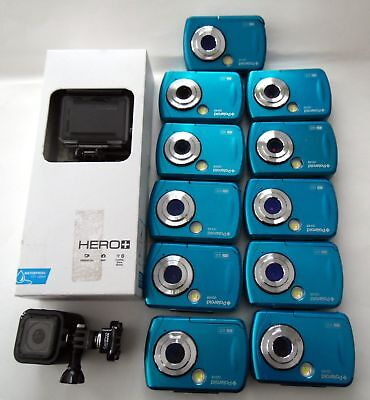 Lot of 12 cameras, 11 Point and shoot 1 action ,1 GoPro Hero, 11 Polaroid i048,