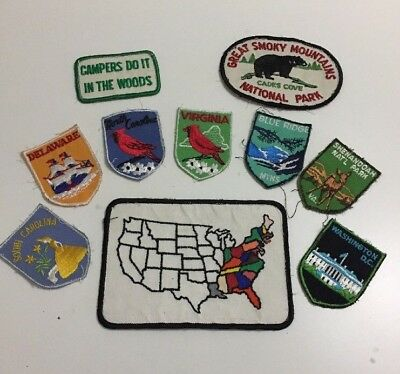 Lot of 10 Vintage Embroidered Patches State National Parks Travel US Campers