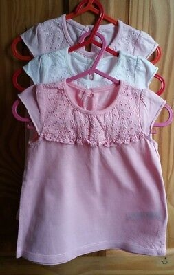Set of 3 Baby Girls Lace Tops in Pink 9-12 Months - Unworn, Perfect Condition