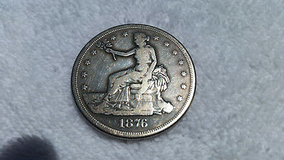 1876-S Trade Dollar, Seated Liberty, Cleaned, Nice coin for the price!