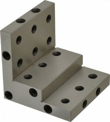 """Stepped Angle Plate Steel Precision Ground P/N 00938969 3"""" W x 3"""" H 3"""" D 24 Hole"""