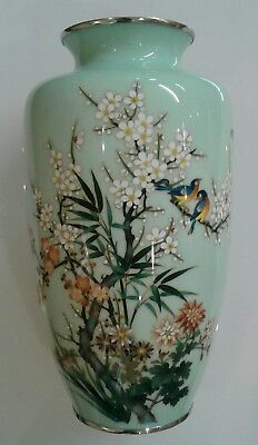 RARE Large remarkable beautiful Japanese cloisonne vase Silver wire Birds floral