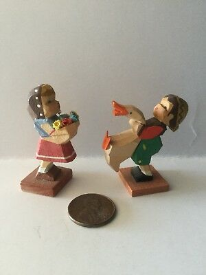 Vintage Erzgebirge Hand Carved Wooden Girl w/Flowers & Boy w/Duck Germany
