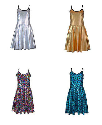 Holographic Dress Ladies Shiny Metallic Holographic Scale Skater Festival Dance