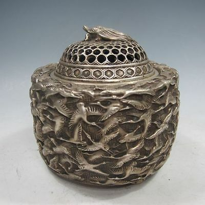 Old Chinese Hand-Carved Thousand cranes Tibet Silver Incense Burner NR