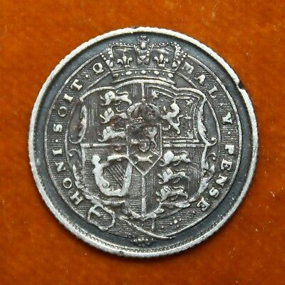 KM# 665 - Sixpence - 6d - Silver (.925) - George III - Great Britain 1817 (F)