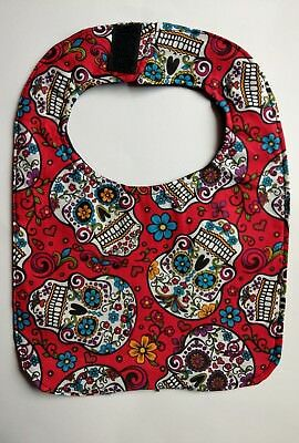 Cute Unique Black Red Gothic Candy Skulls Baby Infant Kids Bib Cheap Adorable