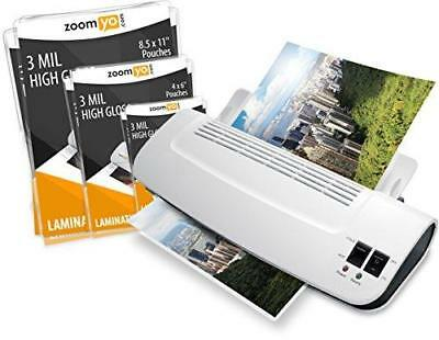 """Zoomyo 9"""" hot & cold laminator Z9-5 warms up in just 3 till 5 minutes Includes"""