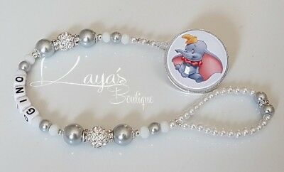 *Dumbo* Bling Shamballa Romany Dummy Clip Boy/Girl *Any Name* White/Silver