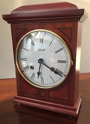 Franz Hermle 8 Day Mantle Clock, Floating Balance, Double Bell Chime.