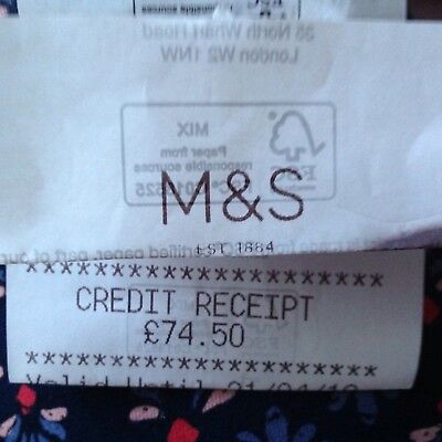 M&S £74.50  Marks and Spencer Credit Receipt - Gift Voucher / M&S (in-store use)