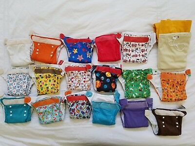 Lot of 17 Tot Bots Easyfit All in One Cloth Diapers + 2 Grovia pail liners