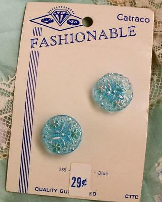 Pair VINTAGE Iridescent SHAMROCK Crystal BLUE Button CARD Fashionable Catraco