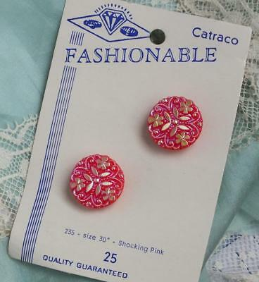 RARE Hot Pink VINTAGE Pair Repousse Iridescent SHAMROCK Crystal Button on CARD
