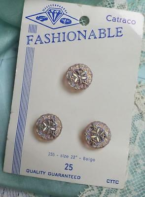 Trio VINTAGE GOLDEN Iridescent SHAMROCK Crystal  Button CARD Fashionable Catraco