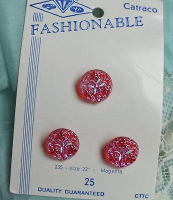 Vintage RUBY RED Magenta TRIO 3 Iridescent SHAMROCK Crystal Button on CARD