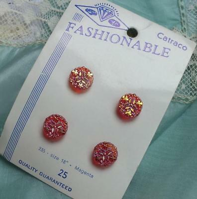 FOUR MINI Vintage RUBY RED Magenta Iridescent SHAMROCK Crystal Button on CARD