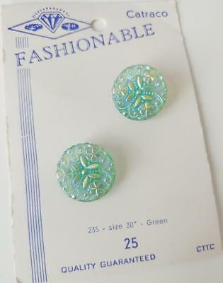 Pair VINTAGE Iridescent SHAMROCK Crystal GREEN Button CARD Fashionable Catraco