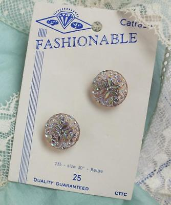 Two VINTAGE GOLDEN Iridescent SHAMROCK Crystal  Button CARD Fashionable Catraco