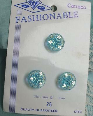 TRIO VINTAGE Iridescent SHAMROCK Crystal BLUE Button CARD Fashionable Catraco