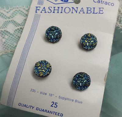 Rare FOUR 4 VINTAGE Sapphire PEACOCK Iridescent SHAMROCK Crystal Button on CARD