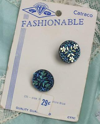 Rare Pair VINTAGE Sapphire PEACOCK Iridescent SHAMROCK Crystal Button on CARD