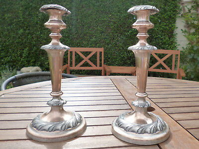 Gorgeous Victorian Antique Silver Plate/Copper/Pewter Candlesticks