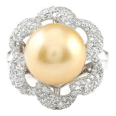 1.00 Carat Natural Diamond 14K Solid White Gold South Sea Pearl Ring