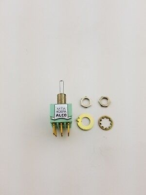 New Alco MTA406PA 4PDT ON - ON- ON, Panel Mount Toggle Switch 6A 125V, (NOS)
