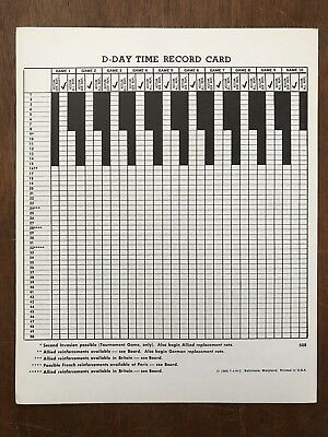 Board Game Parts, D-Day, Time Record Card, Avalon Hill, 1965