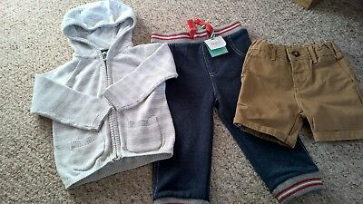 Baby Boys TU Cardigan, M&S Shorts And M&Co Joggers Age 9/12 Months (New & Used)