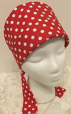 Red Polka Dot Pixie Medical Surgery OR Scrub Cap Hat
