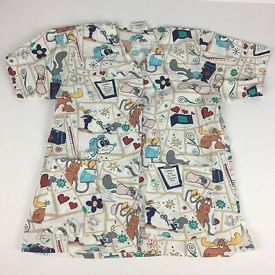 Vintage Adventures Of Rocky and Bullwinkle And Friends Womens Scrub Top Medium