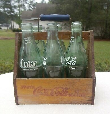 WW2 Era Coca Cola Wood Carrier and 6 Bottles