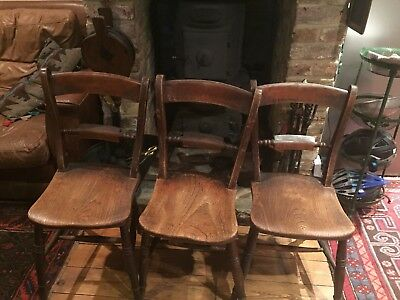 Vintage Kitchen Dining Chairs- 3 Ex Surrey Village Hall