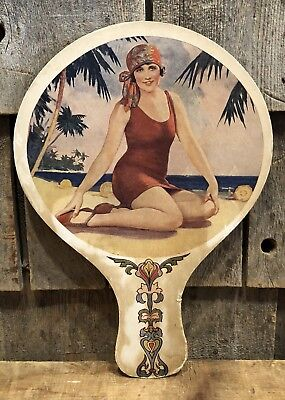 Vintage WILLYS-KNIGHT FORD Auto Dealer Garage Gas Oil Hand Fan Pin Up Girl