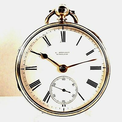 Superb Antique English Solid Silver Victorian 1881 Fusee Pocket Watch Working