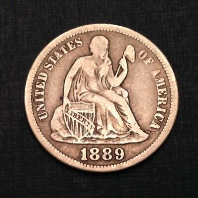 1889 US Seated Liberty Dime 10 Cents