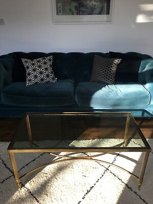 Brass Gold Glass Antique Coffee Table Manson Jensen style