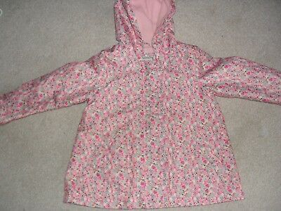 NEXT Girls dpnk ditsy floral fleece lined hooded Raincoat - age 3-4 Years