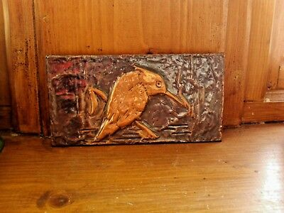 Copper picture of a Kingfisher, hammered copper art