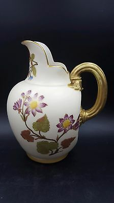 Vtg Royal Worcester Creamer Syrup Pitcher Flat Back Floral Pattern Purple Stamp