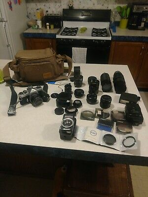 vintage pentax camera with lens and Accessories