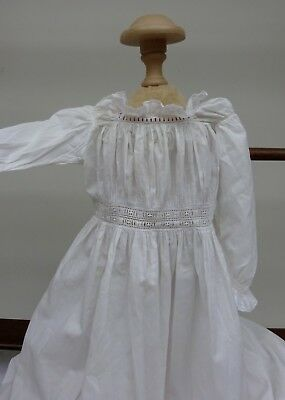 White Cotton Embroidered Christening Night Dress Baby Dolls 1900's Antique