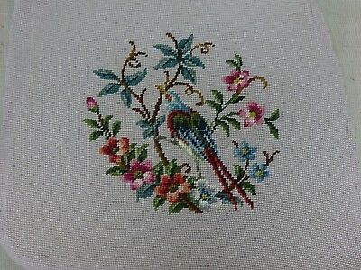 Needlepoint Tapestry Panel Stool Pillow Seat Cover Antique Vintage Bird Flower
