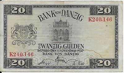 RARE, Poland/Germany 1937 Bank of Danzig 20 Gulden Banknote, Pick #63