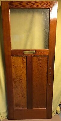 Antique Craftsman Exterior Wood French Entry Door /w Glue Chip Glass 32x80