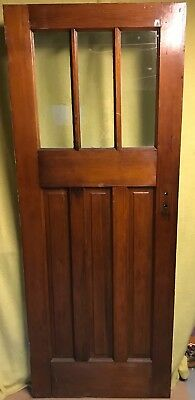 Antique Craftsman Exterior Wood French Entry Door /w 3 Pane Glass 30x77