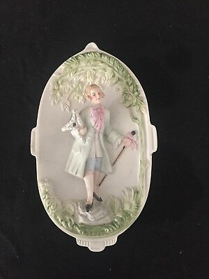 CHASE vintage 1940s bisque porcelain plaque, hand painted, Occupied Japan
