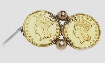 Two 1873 $1 Gold coins DATED 1873, mounted to a brooch with pin UNC
